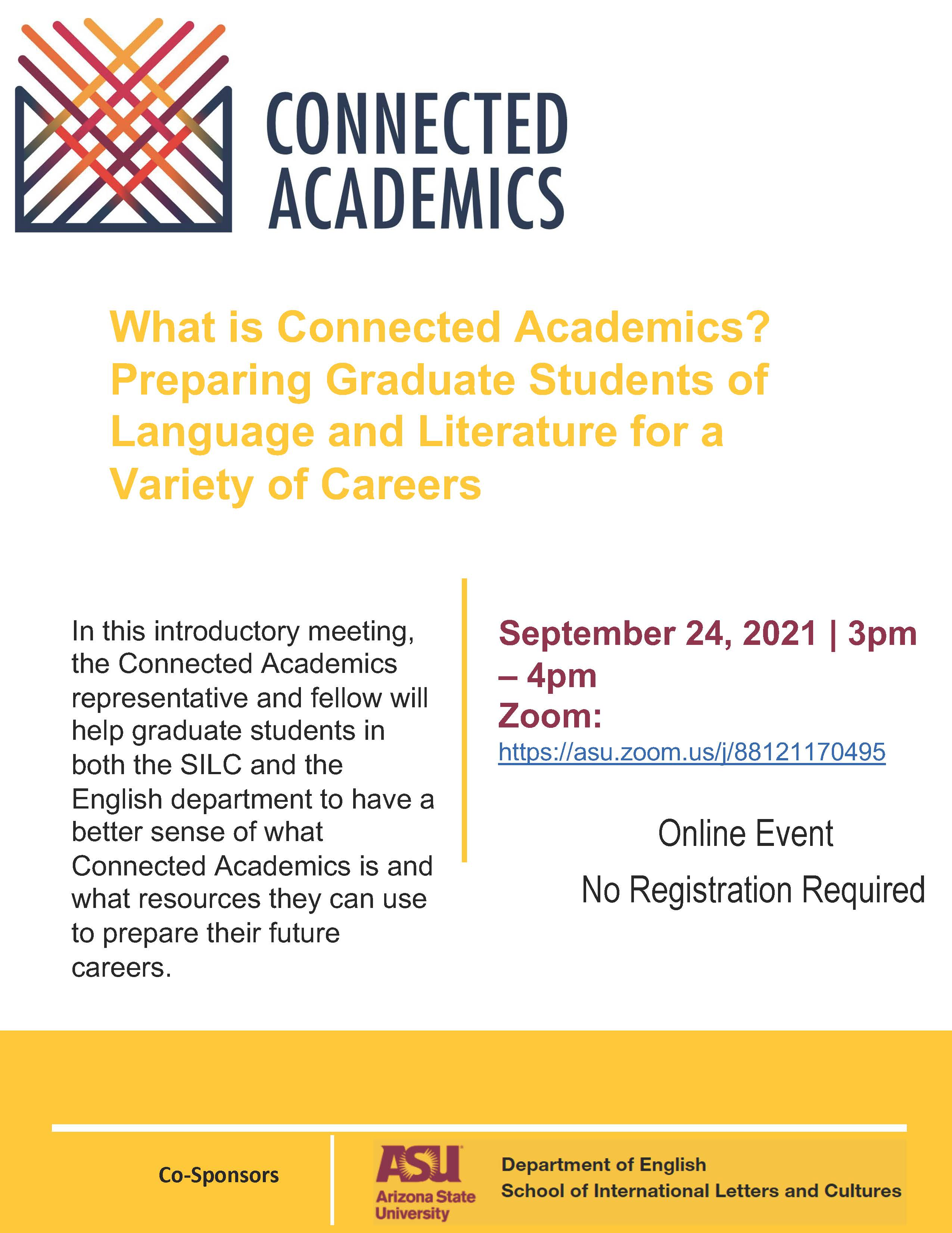 Flyer advertising the fall 2021 Connected Academics intro meeting