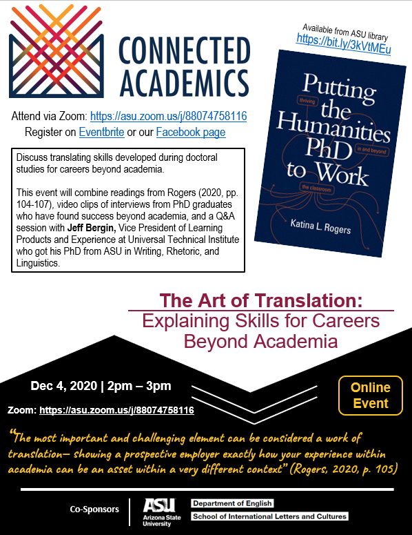 Image of a flyer for Dec. 4 Connected Academics event at ASU.
