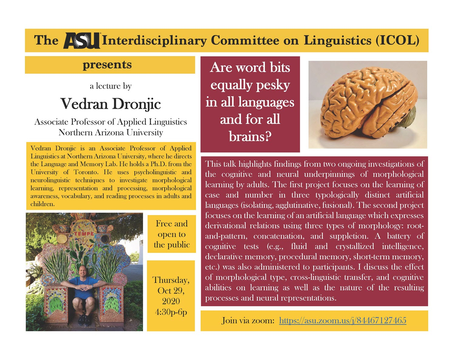 Image of flyer for Oct. 29 ICOL event at ASU