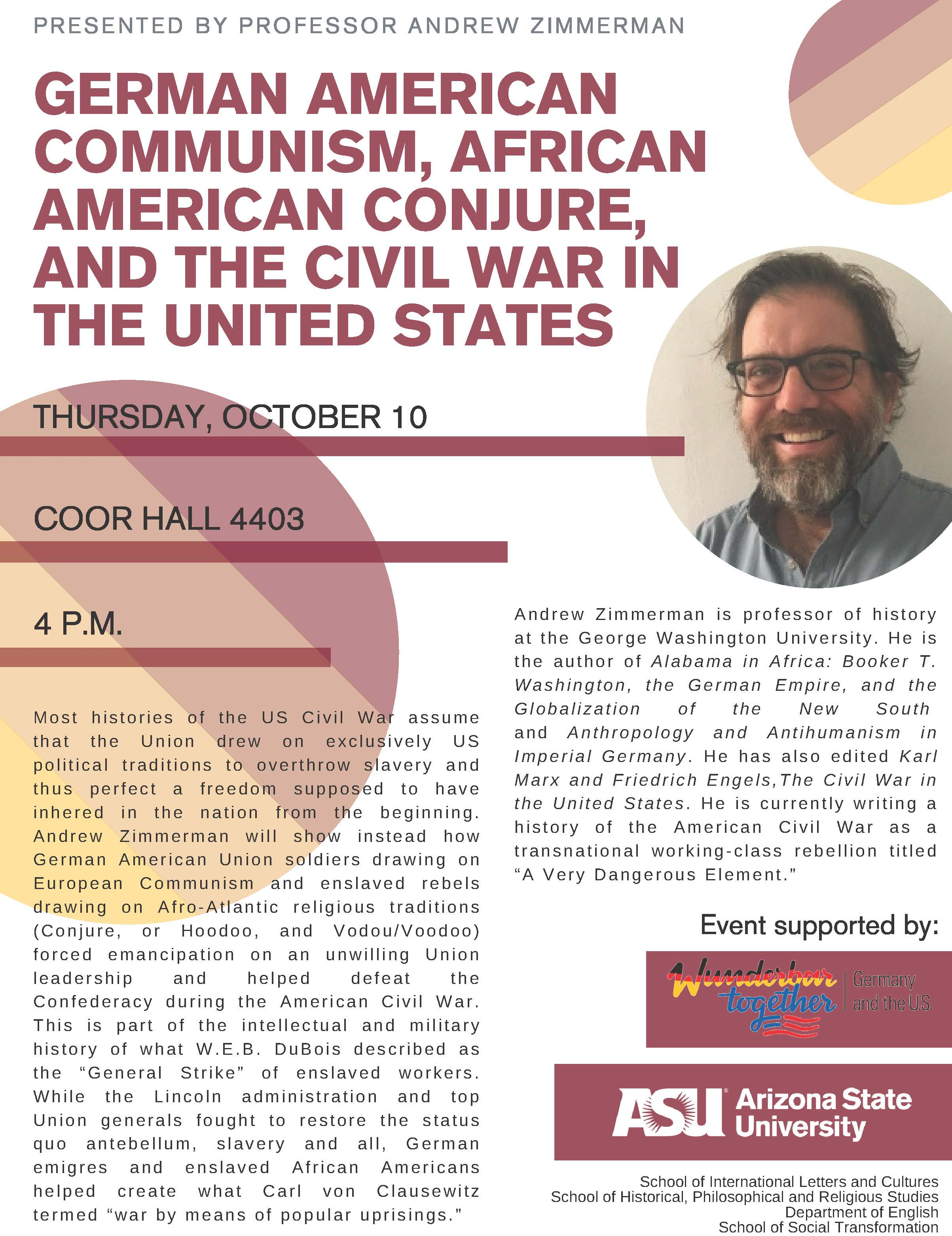 Flyer for 2019 lecture at ASU by Andrew Zimmerman