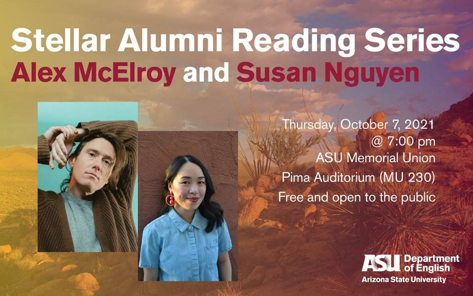 Image of flyer advertising reading by Susan Nguyen and Alex McElroy