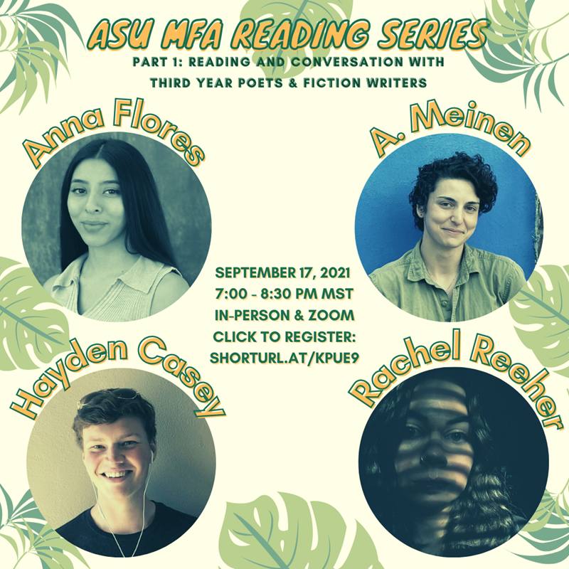 Flyer advertising Sep. 17, 2021 MFA Reading Series event
