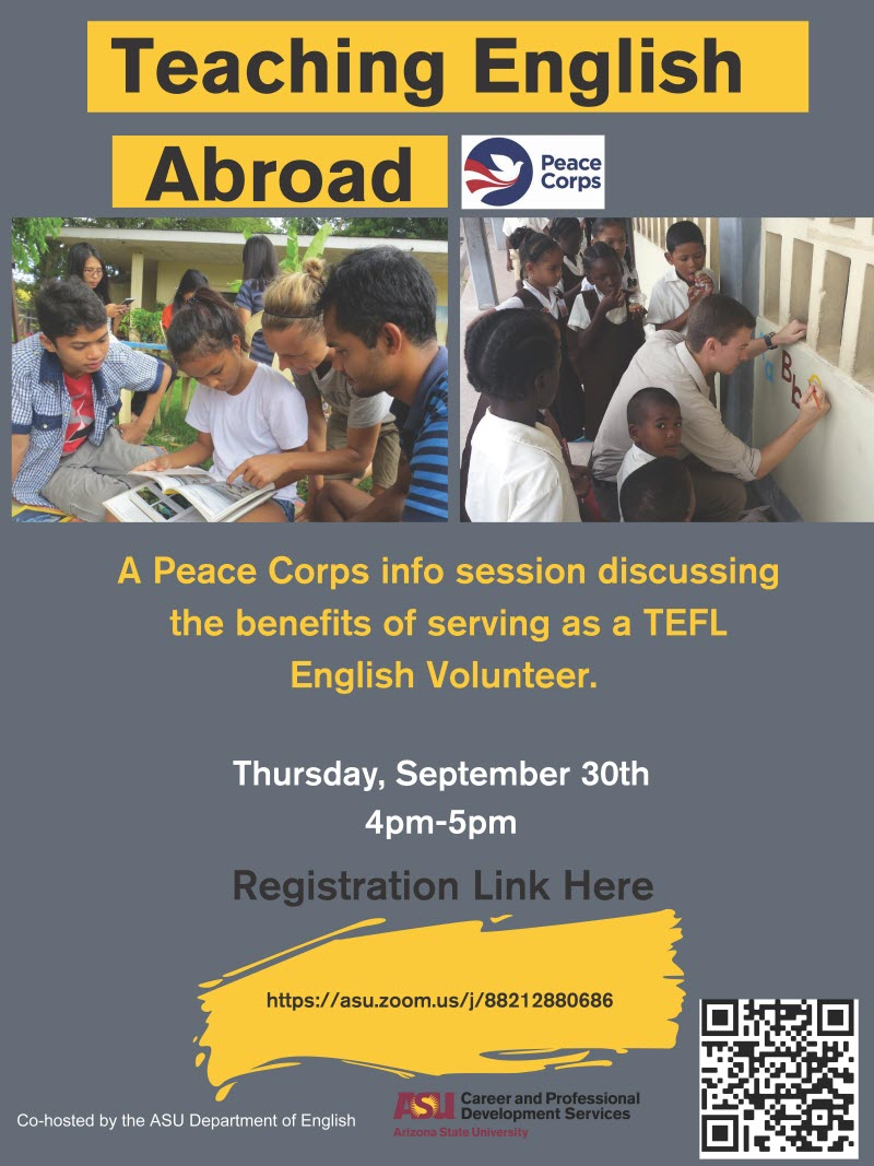 Flyer advertising Peace Corps talk on Sep. 30 at ASU