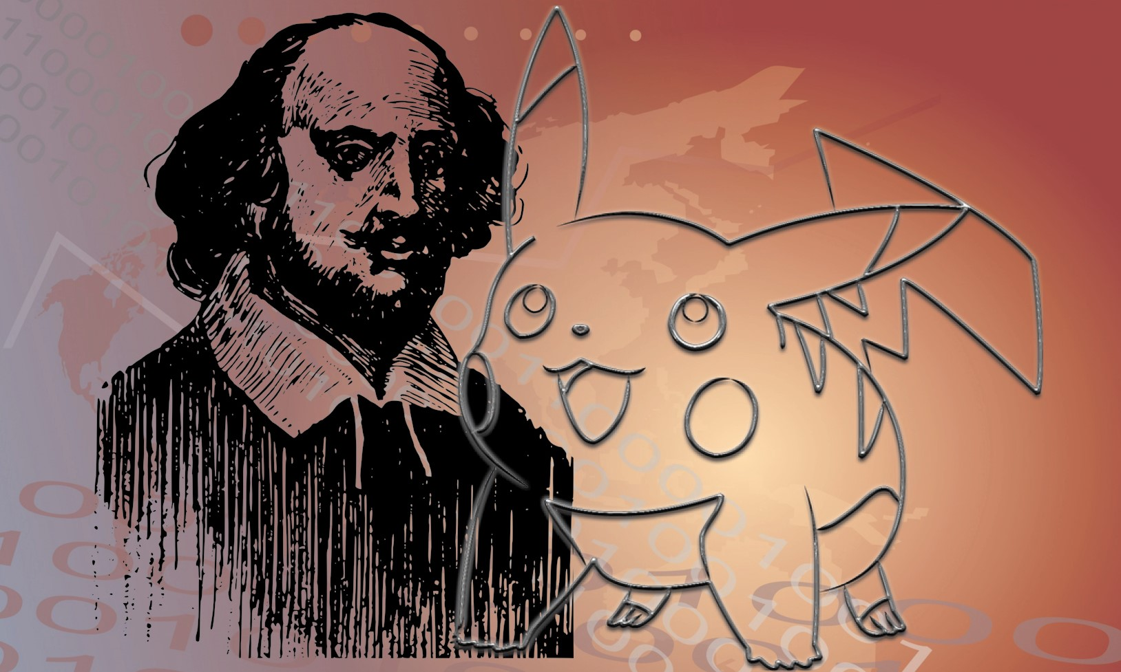 Illustration of Shakespeare and Pikachu over binary code