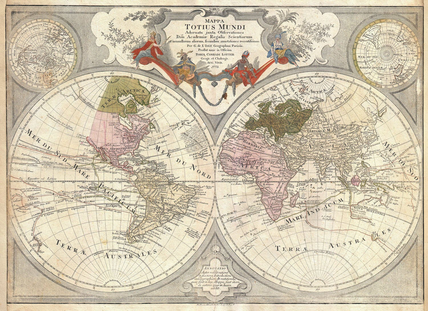 1775 Lotter Map of the World on a Hemisphere Projection - Geographicus / Image in public domain