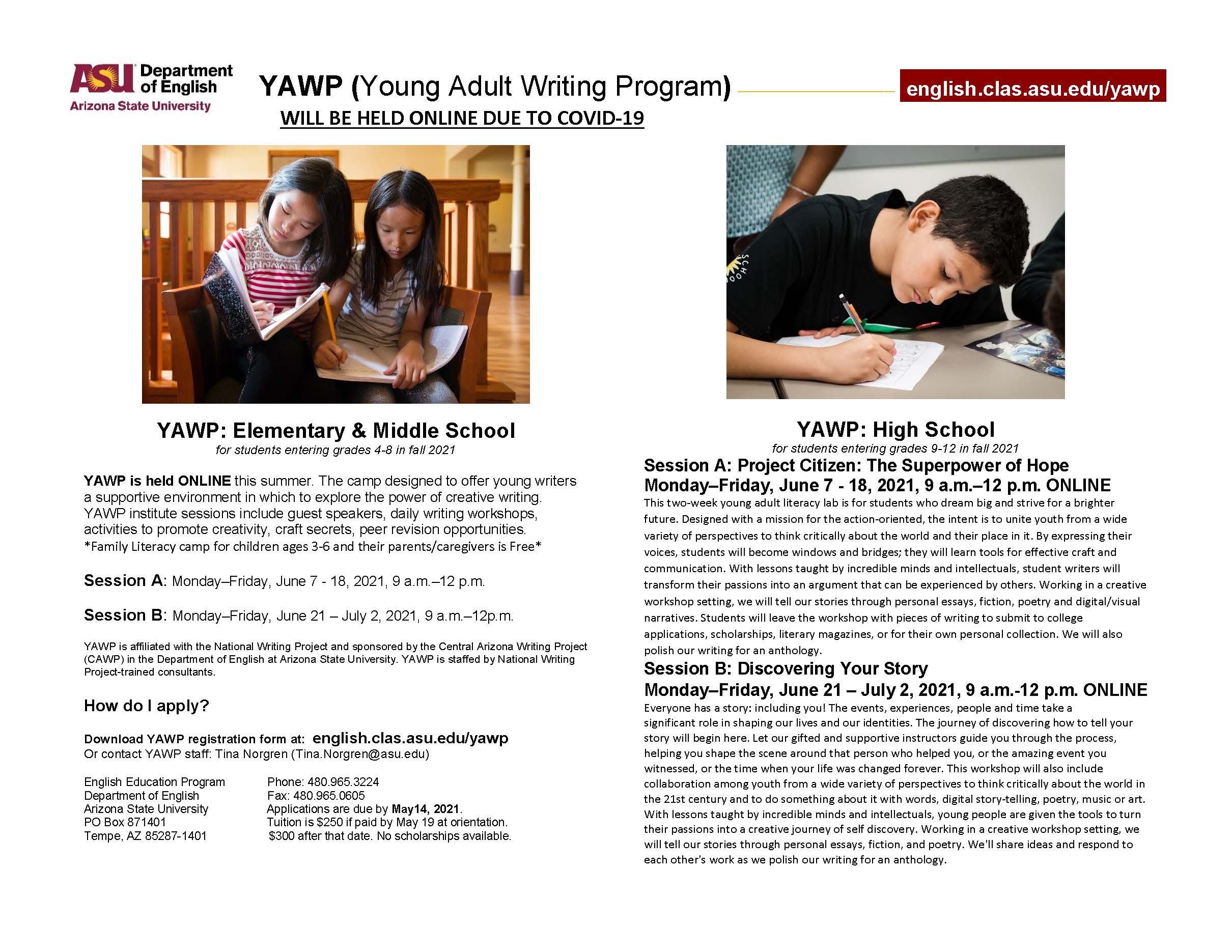 Flyer image advertising YAWP 2021 sessions