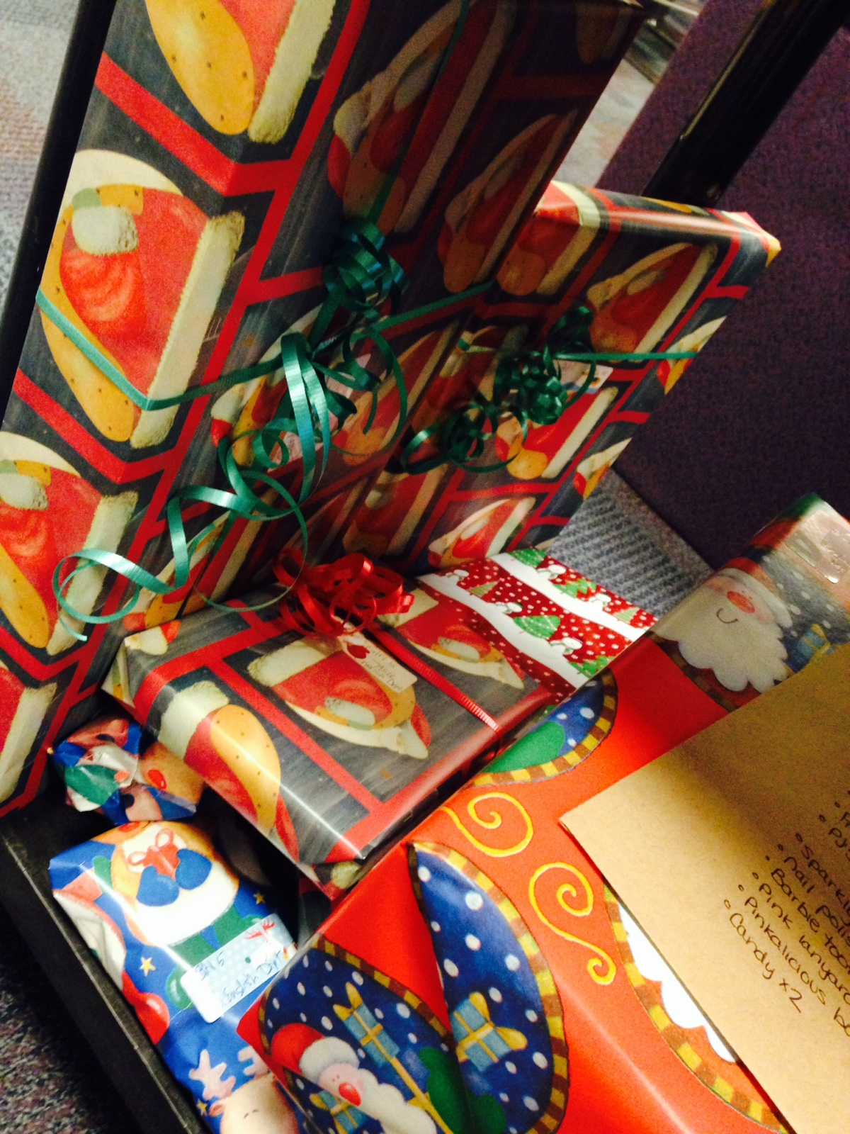 Gifts for families donated to this drive in 2014