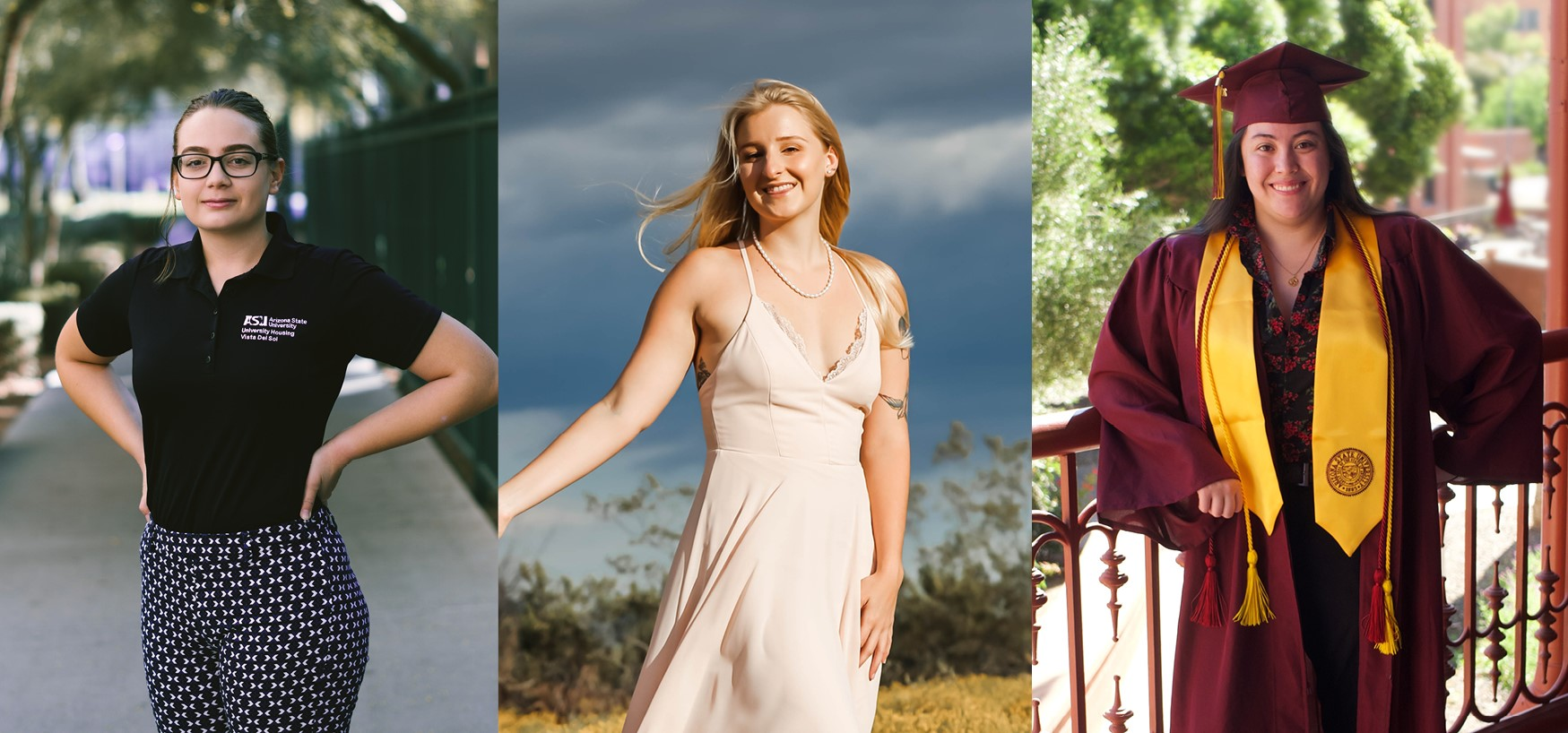 Composite image of 3 creative writers: Megan Bromley, Brenna Camping and Rachel Donalson. / Courtesy photos