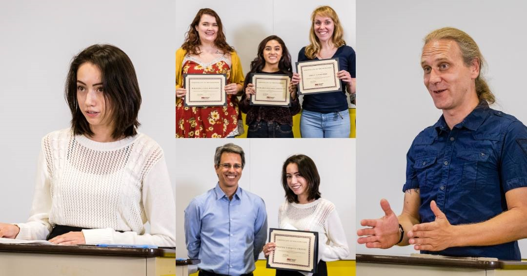 Winners of 2018 ASU Homecoming Writing Awards and Tyler Peterson speaking about his work. / Photo by Bruce Matsunaga