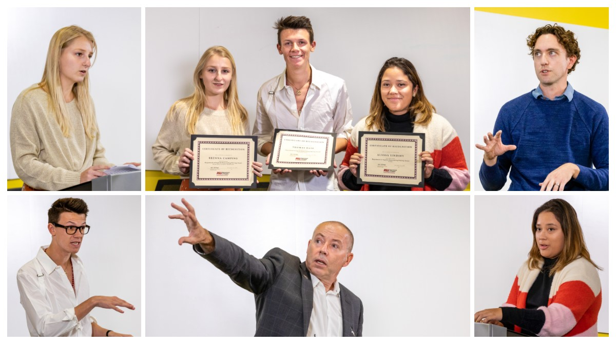 Collage of images from 2019 ASU Homecoming Writing Contest winners and faculty lecture / Photos by Bruce Matsunaga