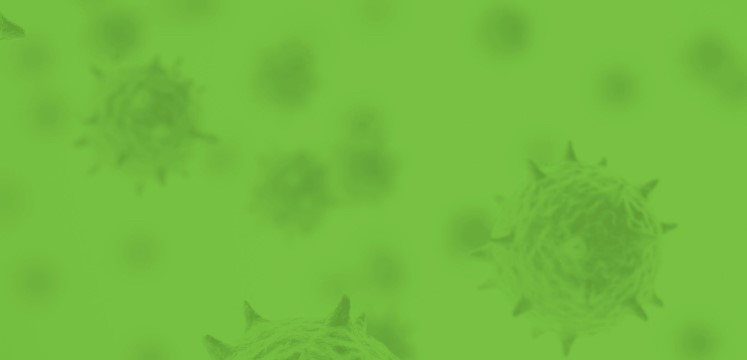 Green artistic image of a virus under a microscope