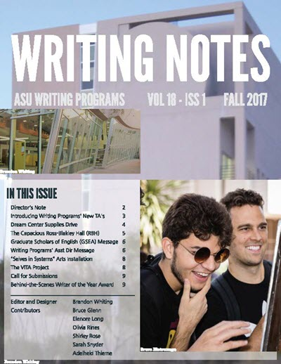 First page of Writing Programs' Writing Notes Fall 2017 newsletter