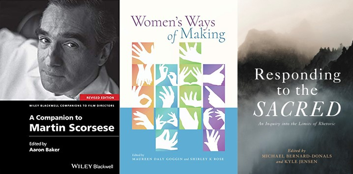 Covers of books by Aaron Baker, Maureen Daly Goggin, Kyle Jensen and Shirley Rose.