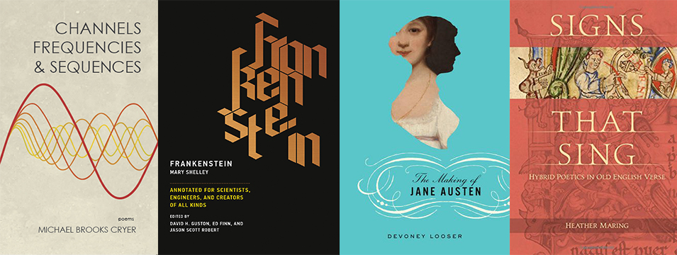 Book covers for Michael Cryer, Ed Finn, Devoney Looser, and Heather Maring