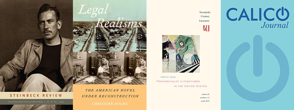 Covers of books and journals by Kathleen Hicks, Christine Holbo, Claudia Sadowski-Smith, and Bryan Smith.