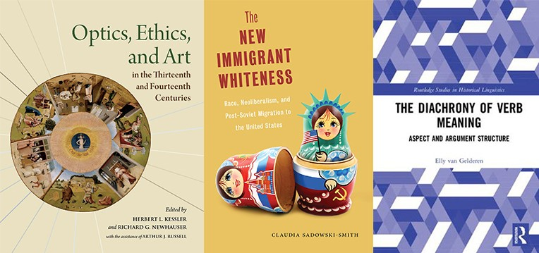 Covers of books by Richard Newhauser, Claudia Sadowski-Smith, and Elly van Gelderen