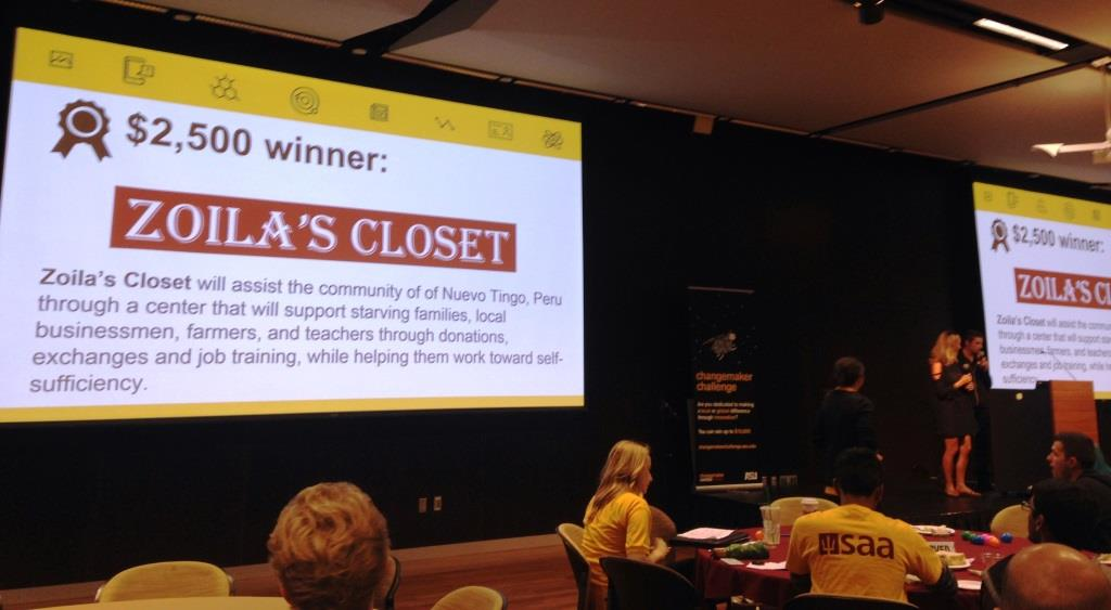 Zoila's Closet awarded second prize of $2,500 in Changemaker competition. / Photo by Elizabeth Ferszt