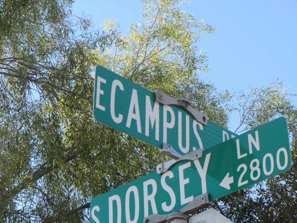 Image of East Campus street sign / Photo by Alberto Rios