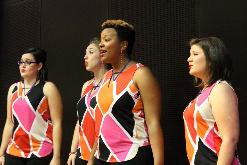 Image: The C'Est La Vie quartet, all young women who are ASU students, sang the barbershop style arrangement of 'For Good' from 'Wicked' at the conference. / Photo by Jennifer Russum