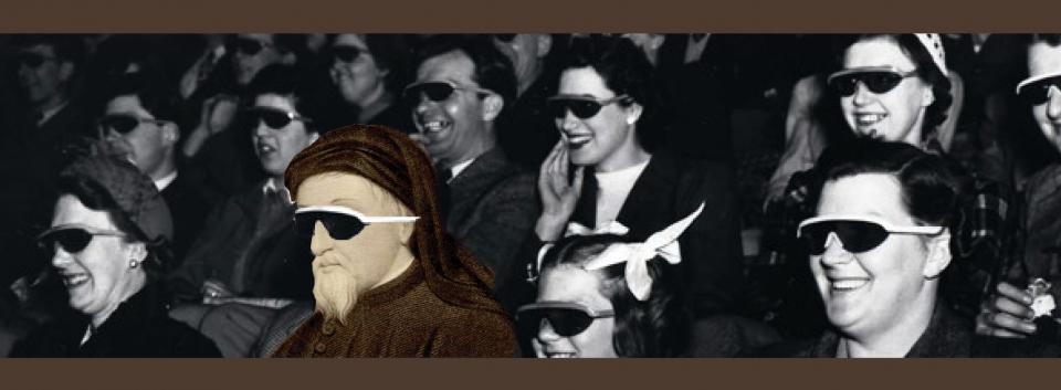 Image of Geoffrey Chaucer watching a movie with 3D glasses