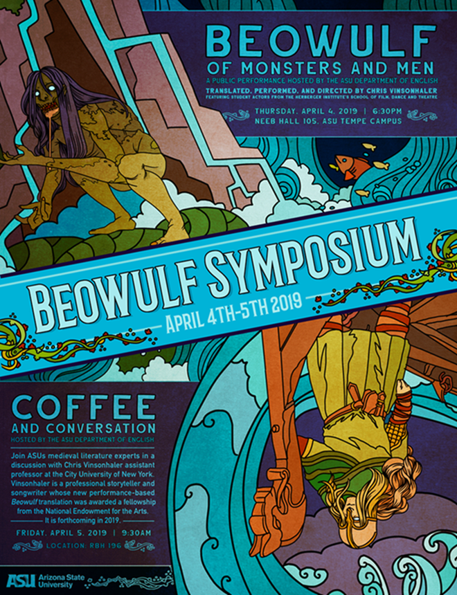 Beowulf Symposium 2019 flyer / Artwork by Basil Price
