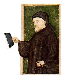 Illustration of Chaucer with an iPhone