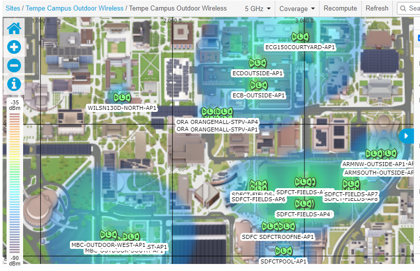 Tempe campus outdoor wi-fi coverage map