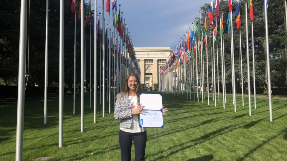 Alyssa Orozco after completing human rights training program at UN / Courtesy photo