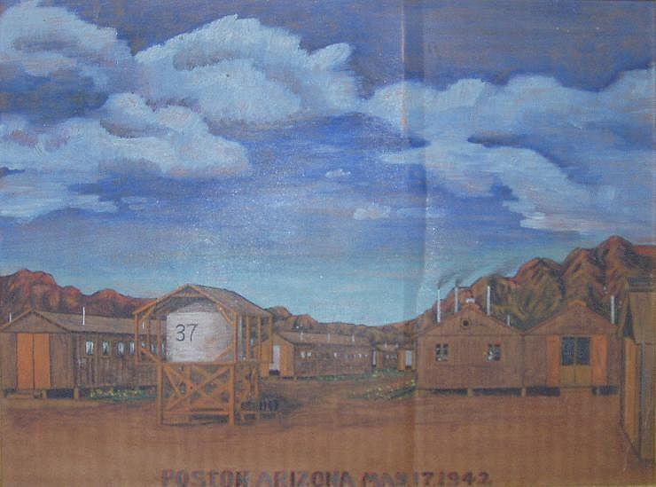 A painting of a Japanese internment camp: Poston Relocation Center in Arizona. Painting on cardboard by Tom Tanaka. Photo by Dark Tichondrias on Wikipedia. Used under CC 3.0.