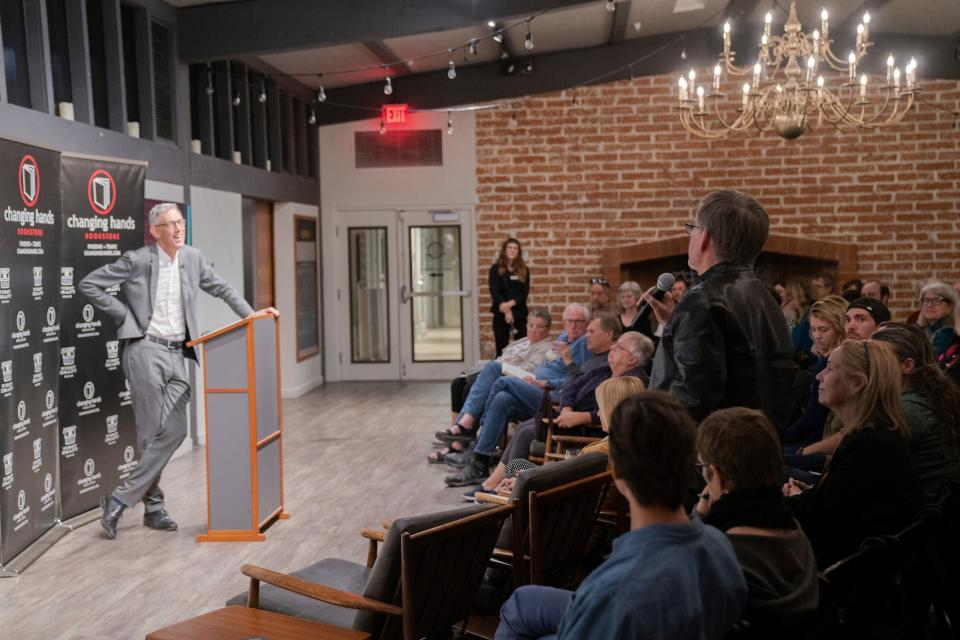 Sir Jonathan Bate speaks to a crowd at Changing Hands Bookstore in 2019. / Photo by Marcus Chormicle / ASU Now