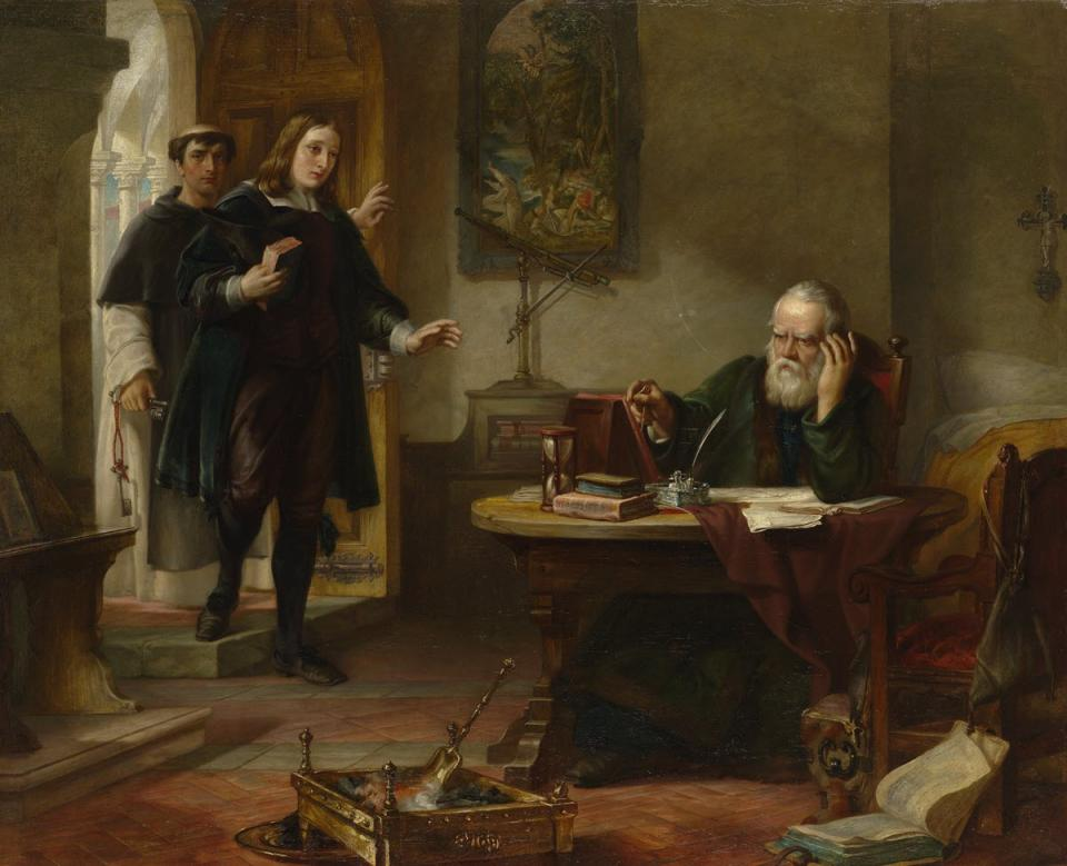 Milton visiting Galileo when a prisoner of the Inquisition. Oil painting by Solomon Alexander Hart, 1847. Image courtesy of Wellcome Images.