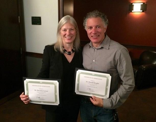 "ASU English faculty Devoney Looser and Ron Broglio received ""Champion Mentor"" awards at the Connected Academics annual dinner. / Photo by Eric Wertheimer"
