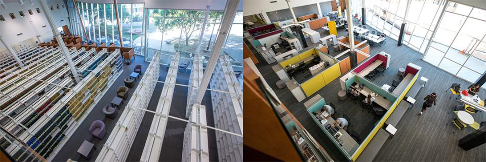 Images of Ross-Blakley Hall's gallery space before the 2017 renovation (left) and after (right). / Photos by ASU Now