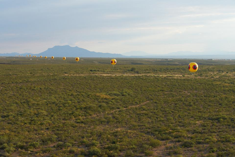 A view of Repellent Fence installation, October 2015 / Photo courtesy Postcommodity