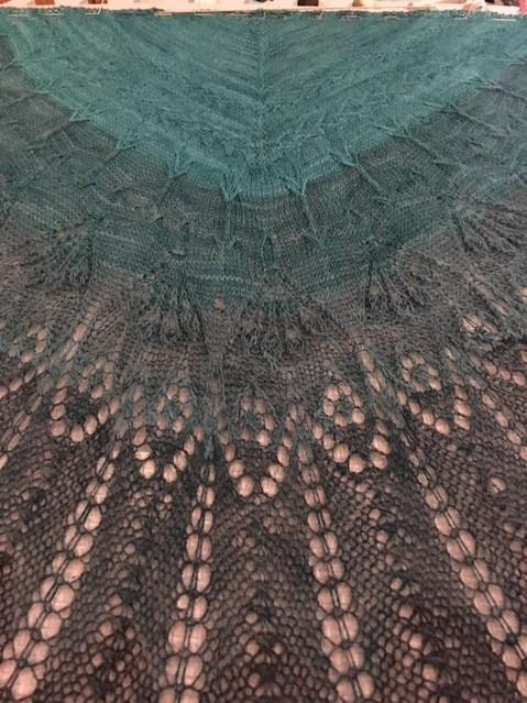 "Dana Tait's knitted ""Shoot Straight"" shawl close up"