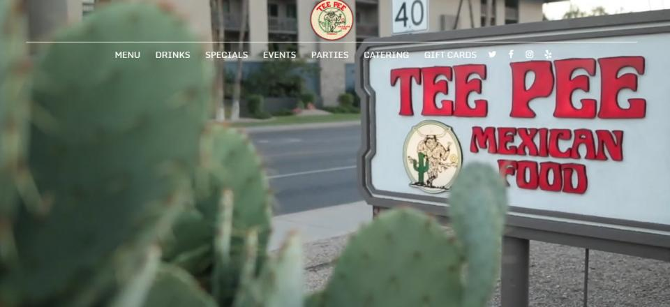 Image of a screenshot of the Tee Pee Mexican Food Restaurant website.