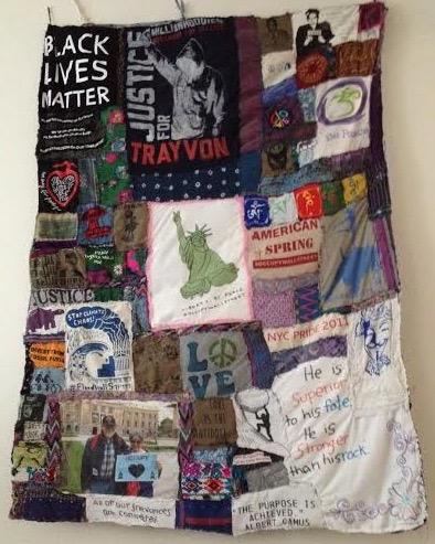 "Susan Bernstein's ""All of Our Grievances are Connected"" quilt, part of #blacklivematter project"