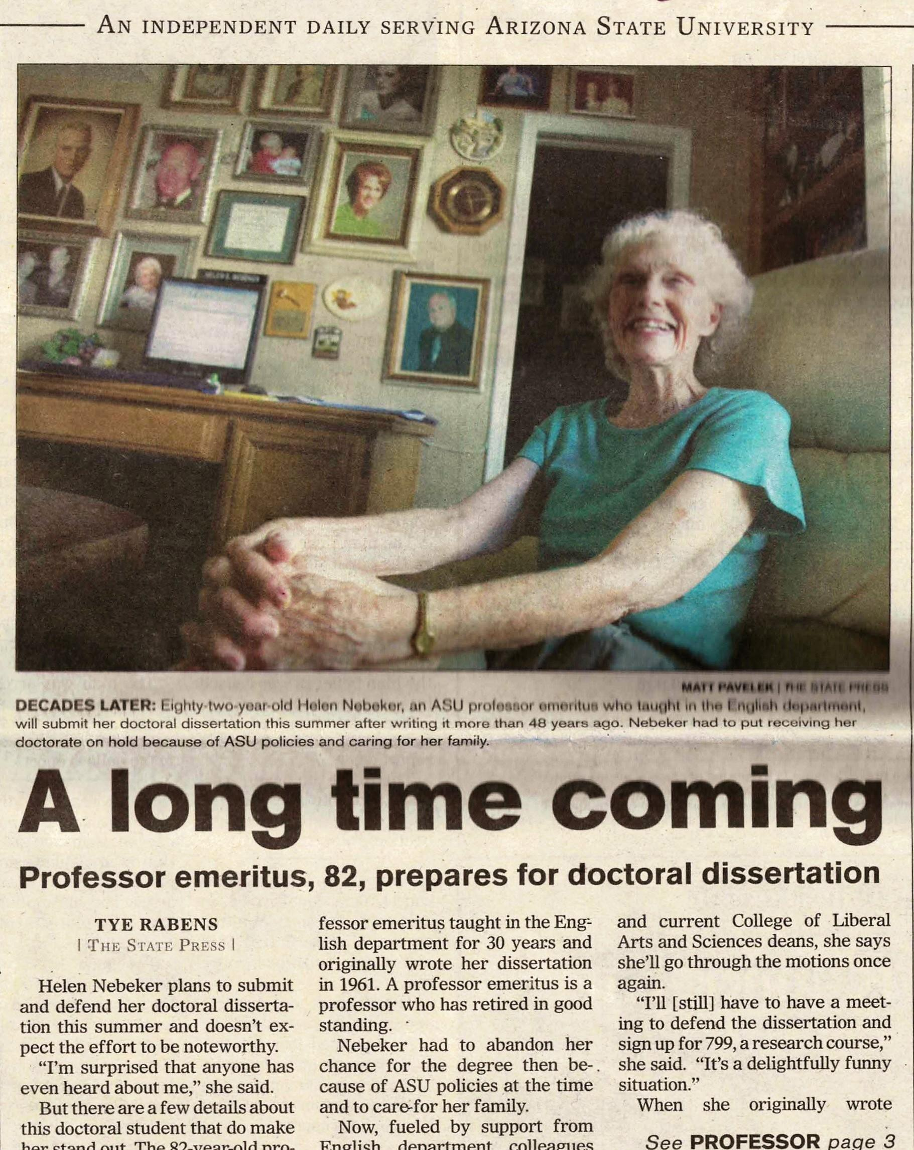 Front page of a 2009 State Press issue featuring picture of Helen Nebeker.