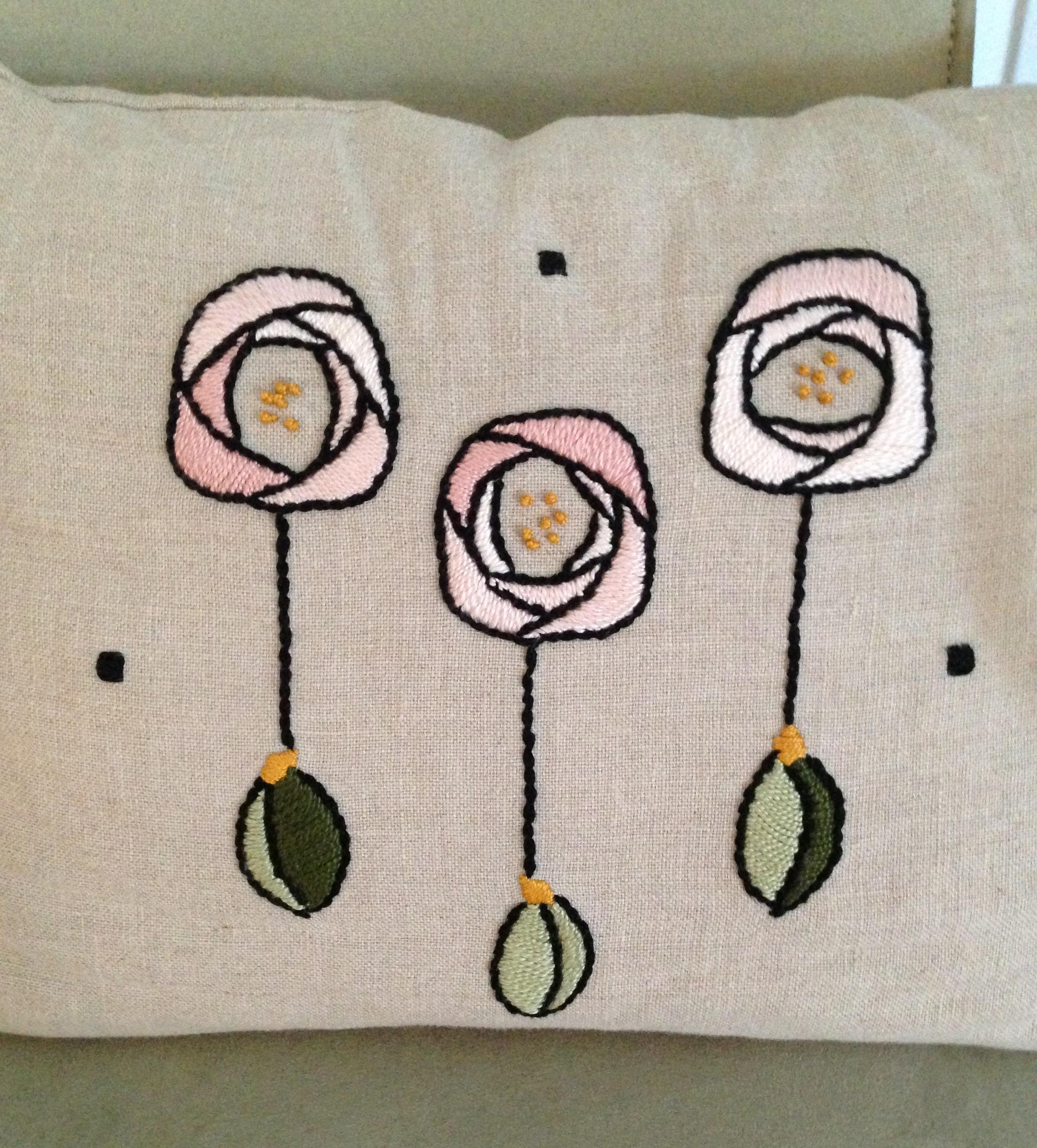 Pink Mackintosh Roses Cushion by Tara Ison / Courtesy photo