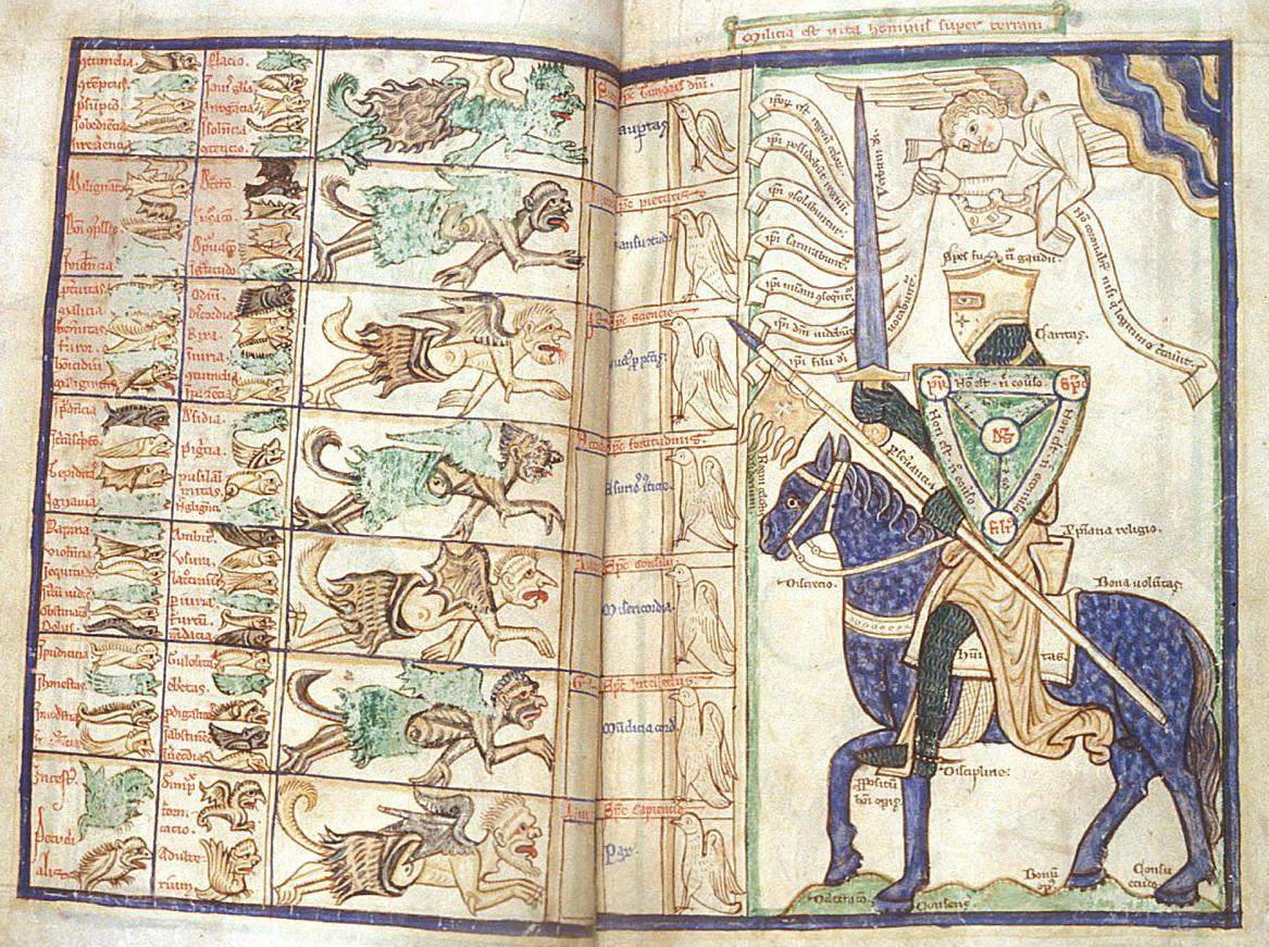 from a thirteenth-century copy of Peraldus's Compendium (MS Harley 3244, folios 27v-28r), housed in London's British Library