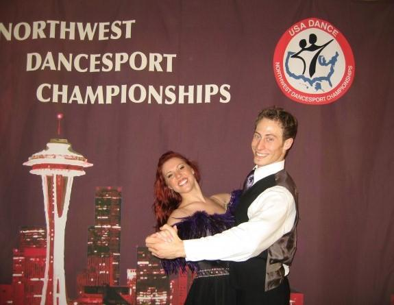 Sarah Snyder and partner AJ in the 2008 Dancesport Championships / Courtesy photo