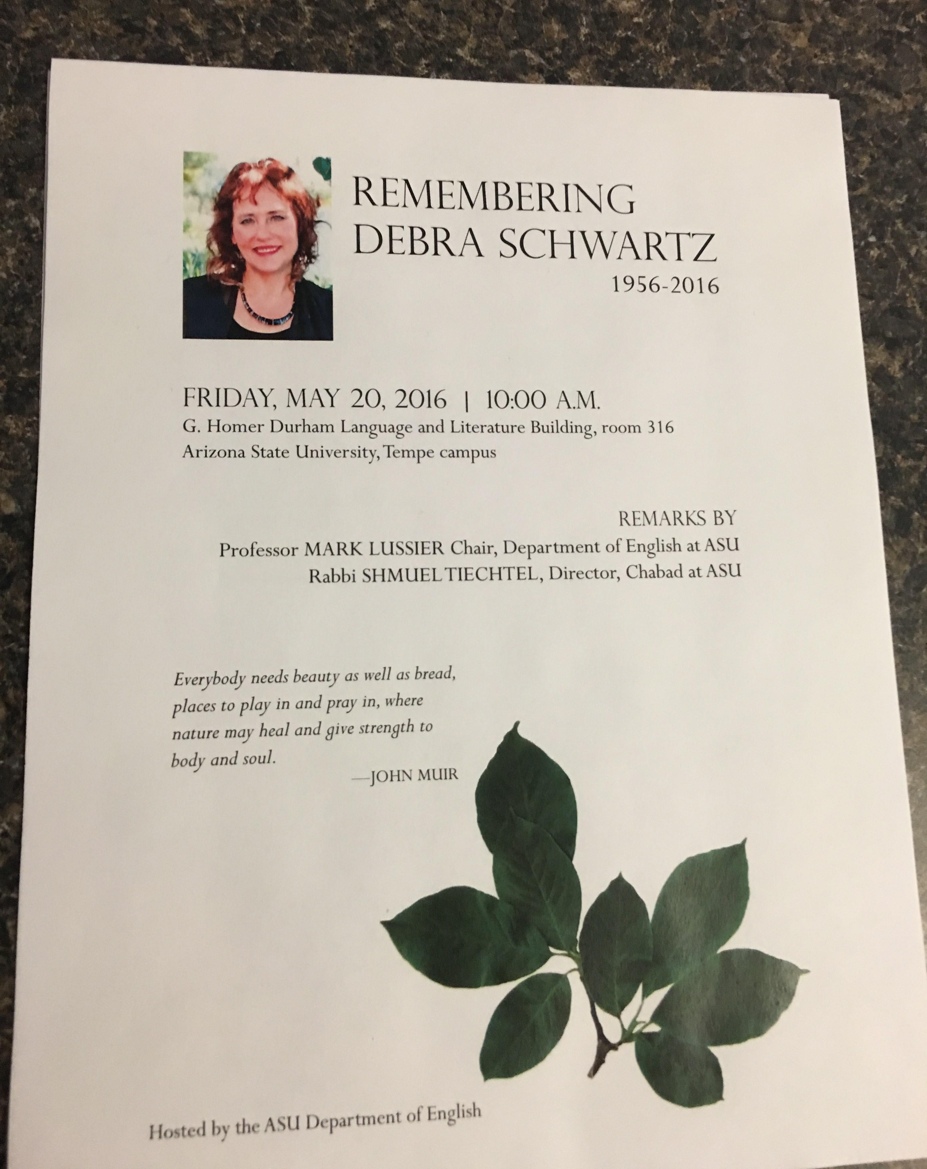 Image of program from Debra Schwartz memorial, May 2016. / Photo by Rabbi Tiechtel.