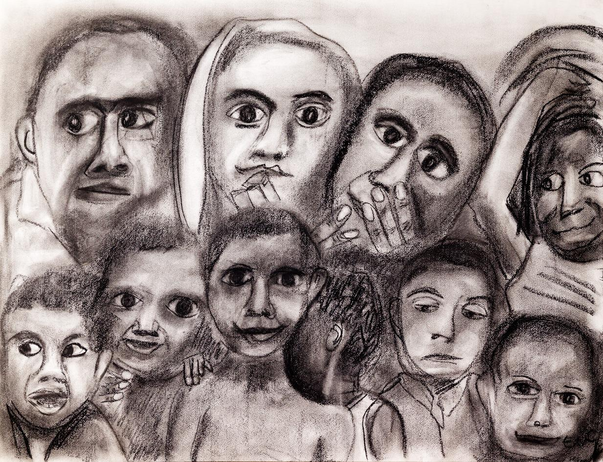 """""""The Future"""" by Elly van Gelderen. Charcoal and pastel on paper."""